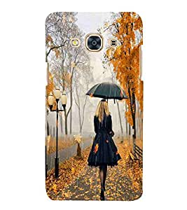 For Samsung Galaxy J3 Pro 2016 girl with umbrella ( girl with umbrella, light, umbrella, tree, autumn, rain, cute girl, girl ) Printed Designer Back Case Cover By FashionCops
