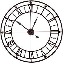 Grande Horloge Murale Pendule Géante en Fer Couleur Marron Rouille Fonctionnelle 102x102cm