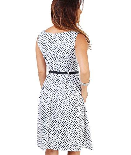 KRISP® Femme Robe Pin-Up 50s Rockabilly Imprimée Rétro Vintage Blanc (7158)