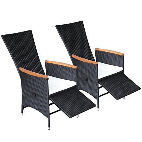 Festnight ensemble de 2 chaises inclinables de jardin en rotin