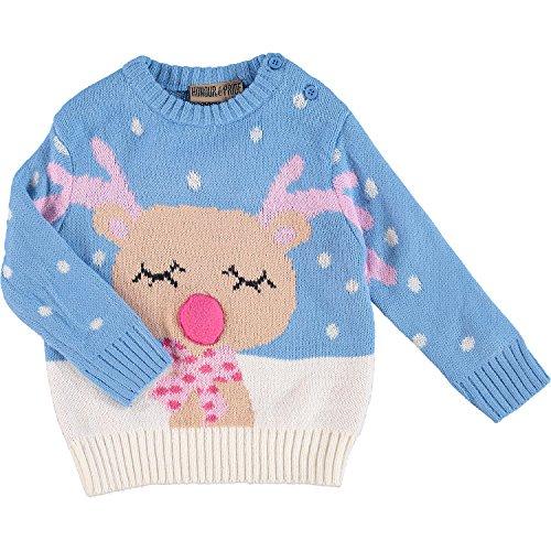 Bambino Ragazze Natale Maglione Lavorato A Maglia Con Renna Stampa Design in blu/rosa blu Blue/Pink 18 - 24 mesi