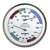 Sauna-Thermo-Hygrometer, mit farblicher Klima Kennzeichnung für Sauna / Warmluftbad / Soft-Dampfbad, Edelstahlgehäuse Ø 130mm