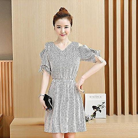 Élégante jupe d'été robes de mousseline de zebra Attache V-cou Foutune Bow-tie d'un noir et blanc jupe rayures,L,champ