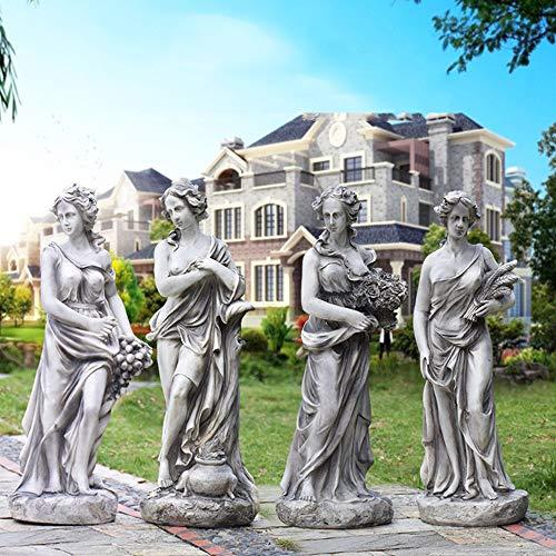 Göttin der Vier Jahreszeiten-Statue, griechische Göttin-Statue des Retro- Designs, Klassische Frauen-Garten-Statue, 33 Zoll, Garten-Familien-Brunnen-Park-Statuen-Dekoration, FRP, 22 Pfund