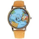 mmrm Mini Weltkarte Flugzeug Elektronische Armbanduhr Denim Leder Band Armbanduhr für Herren, gelb