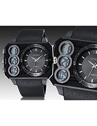 Relojes Hermosos, Negro banda de silicona esfera del reloj redondo reloj de pulsera de reloj del deporte del salto movimiento de la moda de Japón de los ( Color : Negro )
