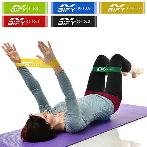 BIFY Fitnessbänder / Widerstandsbander, 5er Set Fitnessband Gymnastikband, Trainingsband/ Übungsband/ Fitness Band/ Trainingsbänder