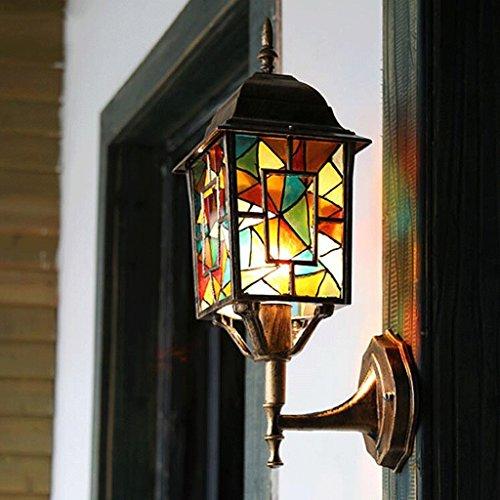 FHK,lampade da parete Parete creativo bohemien luci esterne giardino della villa luci del giardino balcone esterno porta lampada da parete impermeabile luci murali decorativi ( colore : B )