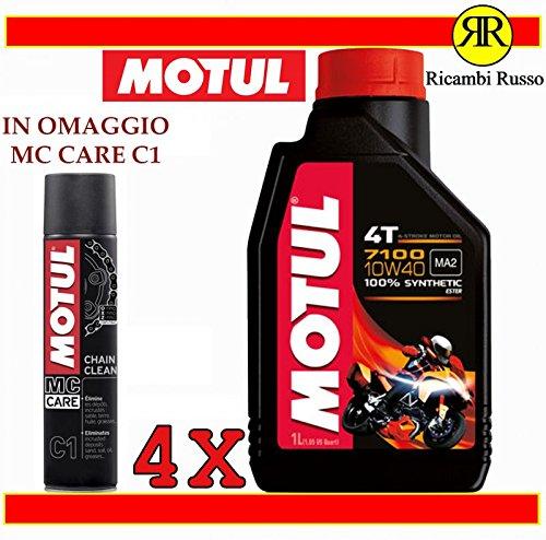 Motul 7100 10w40 olio motore moto 4 tempi litri 4 + OMAGGIO MC Care C1 Ch