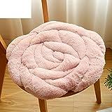 JDSFDVHDSIGUHCG Rose sitzkissen,Büro-Stuhl-Kissen,[Herbst und Winter] Tatami plüsch Gepolsterte Kissen Stuhlkissen Teppich-Rosa 45x45cm(18x18inch)