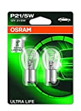 OSRAM ULTRA LIFE P21/5W halogen signal lamp, brake light, rear fog light, 7528ULT-02B, 12 V passenger car, double blister (2 units)