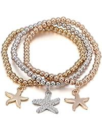 Femmes Charme Bracelet Stretch Perle Bracelet Bracelet Étoile de mer Pendentif Amitié Bracelet Bracelet Manchette pour les filles avec cristal