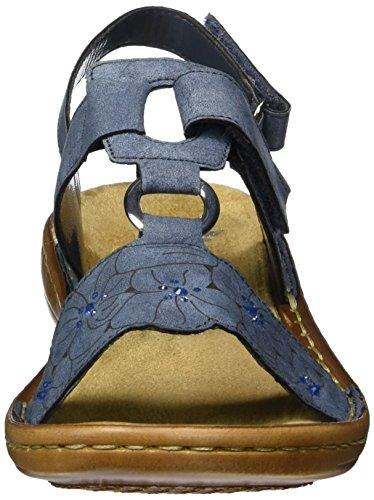 Rieker 60843, Sandales Bout Ouvert Femme Bleu (Jeans / 14)