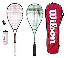 2x WILSON Juego de raquetas de squash Esferas, Botella Agua & Funda de transporte - Tamaño de cabeza: 497 cm2 - Balance - 31 cm - Estampado cuerda- 14 x 19