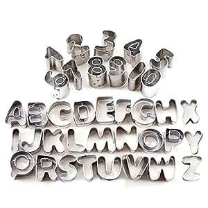 tinksky 37 teilig aus metall buchstaben und zahlen f r die dekoration von geb ck 37 pcs. Black Bedroom Furniture Sets. Home Design Ideas