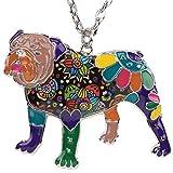 Englische Bulldogge Hund Emaillierter Anhänger mit Legierung Kette Halskette mit einzigartig Anhänger für Frauen, Mädchen und Kinder (Lila)