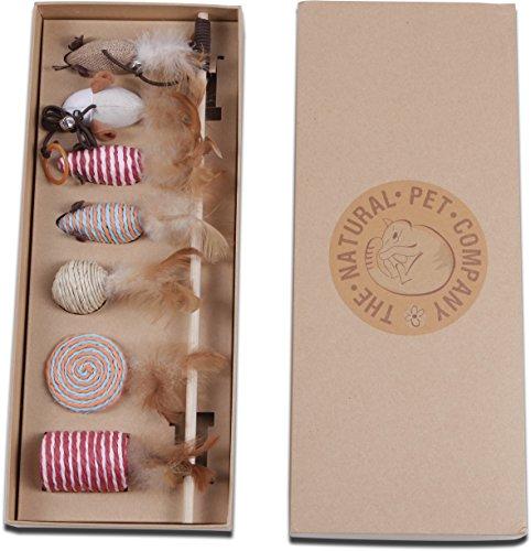 *Katzenspielzeug Set – Interaktiv – Federn – Katzenangel – Stoffmäuse – Geschenkbox – The Natural Pet Company Qualitätsprodukt*