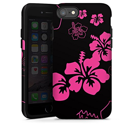 Apple iPhone X Silikon Hülle Case Schutzhülle Blumen Schwarz Pink Muster Tough Case glänzend
