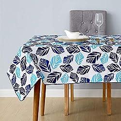 Deconovo Manteles Mesa Rectangular Estampada Diseño Hoja Impermeable Mantel para Jardín Exterior Fiesta 140 x 200 cm Azul