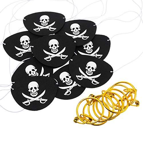 24 Stück Piraten Party Lieferung Filz Augen Klappen Zubehör mit Piraten Ohrringe für Damen Erwachsene Piraten Kostüm Thema
