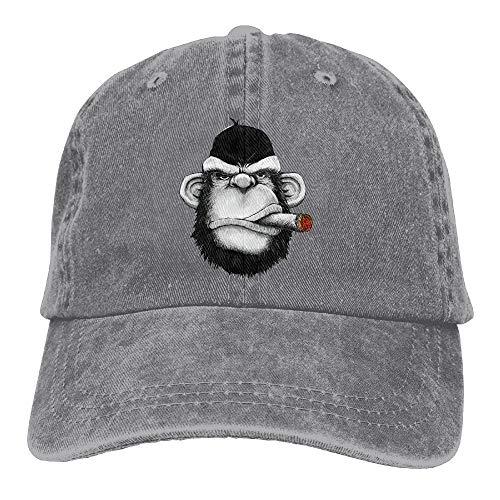 20d88a00908 Okhagf Cigar Monkey Art Classic Cotton Dad Hat Adjustable Plain Cap Custom  Denim Baseball Cap For