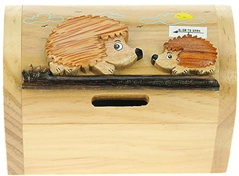 Hérisson : Fabriqué à la main tirelire en bois avec serrure secret! Cadeau fantastique pour Noël ou anniversaire. Haute qualité traditionnelle cadeau de Noël pour les enfants ou les adultes. (Taille 17 x 13 x 5 cm) Prime Day