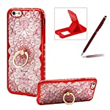 Soft TPU Case for iPhone 7,Glitter Red Silicone Case for iPhone 7,Herzzer Luxury Diamond Electroplated Frame Crystal Flower Clear Back Case with Ring Stand Holder for iPhone 7 4.7 inch + 1 x Free Red Cellphone Kickstand + 1 x Free Claret-Red Stylus Pen