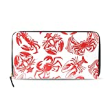 Women Wallet Purse Clutch Bag Zipper Seafood Crab Lobster Seamless Pattern Red Leather