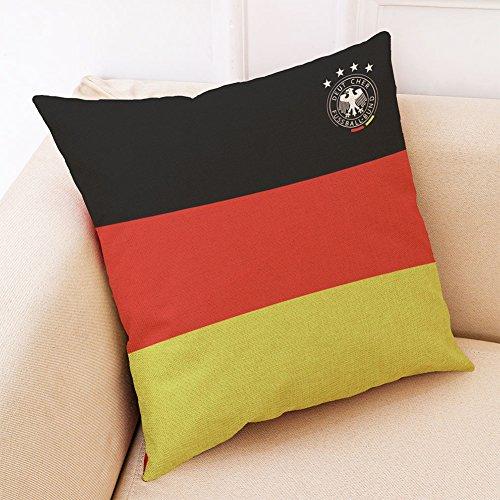 Etbotu Fußball-WM-Überwurf-Kissenbezug (ohne Kissen), innen, Deutschland, 45 * 45cm Polyester