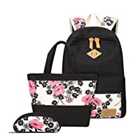 YoungSoul School Bag Sets for Teenage Girls - Canvas Backpack + Lunch Bags + Pencil Cases - Patterned Casual Daypack 3PCS 14