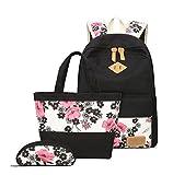 YoungSoul Schultaschen-Sets für Mädchen Jugendliche Canvas Schulrucksack + Lunch-Taschen + Federmäppchen mit Blumenmuster 14