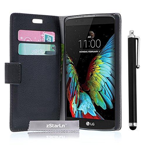 zStarLn® schwarz Hülle Leder Tasche für LG K10 Hülle Handytasche Zubehör Schutzhülle Etui + Stylus pen und 3 Films Schutzfolie