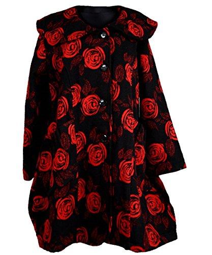 Wolle Mantel Patchwork Übergang Winter Trench Coat Kragen Rüschen Lagenlook Rosen Blumen Ziepfelig Rot Schwarz 52 54 56 XL XXL XXXL (56, Rot)
