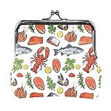 Women Wallet Purse Seafood Shrimp Fish Seamless Pattern Clutch Bag Leather