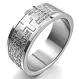 MunkiMix Breite 8mm Edelstahl Ring Band Silber Ton Englisch Bibel Herr Gebet Kruzifix Kreuz Größe 70 (22.3) Herren,Damen