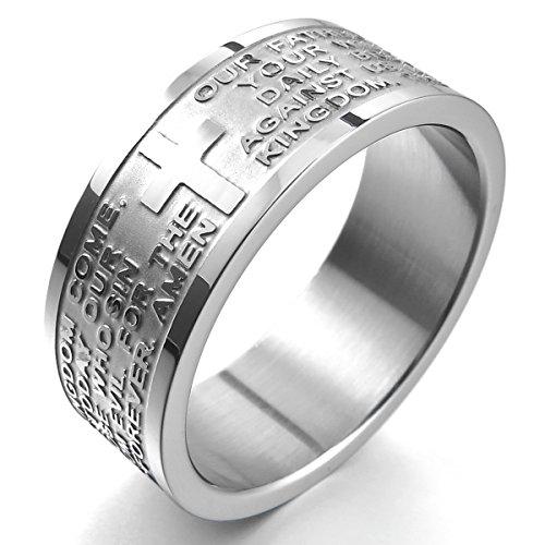 MunkiMix Breite 8mm Edelstahl Ring Band Silber Ton Englisch Bibel Herr Gebet Kruzifix Kreuz Größe 62 (19.7) Herren,Damen