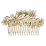 AmberRoze Multicolour Crystal and Pearl Flower Metal Clip Hair Comb