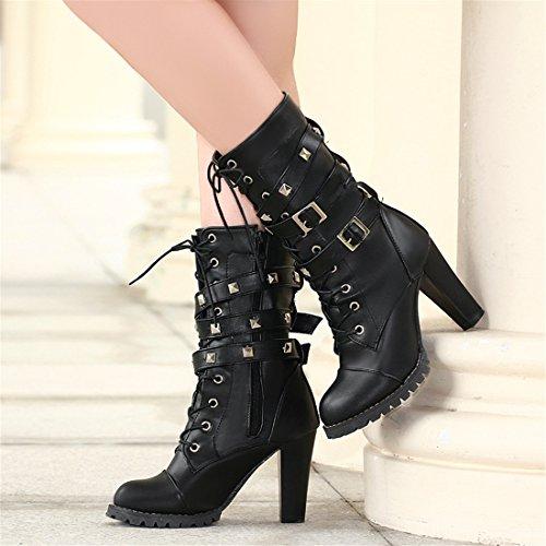 YE Damen Chunky High Heels Plateau Halbschaft Stiefel mit Blockabsatz Schnürung Nieten und Schnallen Boots Schwarz