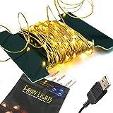 BrightTouch 100 LED 10M Kupfer Schnur, Wasserdicht Flexibel Lichtleiste mit USB-Anschluss, für Innen- und Außenbereich, Geburtstag, Hochzeit, Weihnachtsfeier
