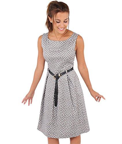 KRISP Damen 50er Jahre Vintage Kleid (Mokka, Gr.44) (7158-MOC-16) Kurzes Kleid Vintage Rock