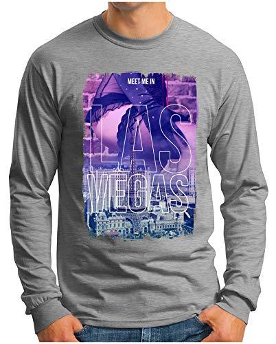 OM3® - LAS-Vegas - Langarm T-Shirt | Herren | Meet Me in Players Paradise Vintage | Grau Meliert, S -