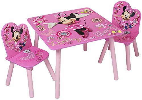 Image of Pink Minnie Mouse Table with Chairs Gift for Girls | Durable Disney Kids Table & Chair Set for Toddlers (Kid's Playroom Furniture 3 PC Set)