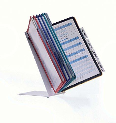 DURABLE 557000 Vario Table 10 leggio da tavolo 10 pannelli espositivi Sherpa f.to A4 cavalierini clip rimovibili assortiti
