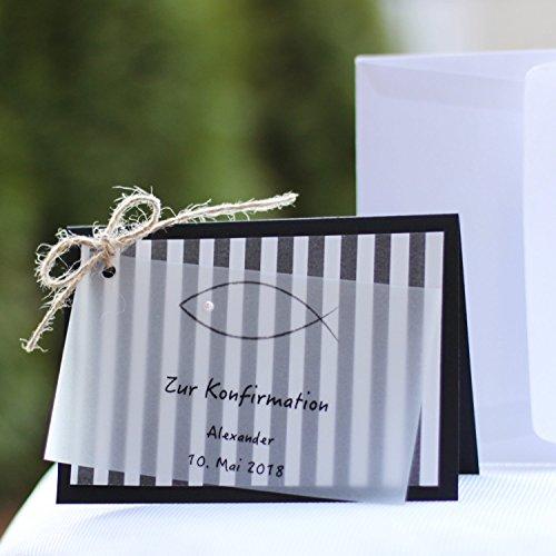 10 personalisierte Einladungskarten Einladung zur Kommunion Konfirmation Firmung Streifen schwarz weiss Handarbeit binnbonn
