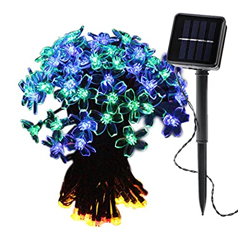 OMGAI Flower Solar String Lights, 39Ft 100 LED Waterproof Fairy Lights for Home, Garden, Wedding, Party, Holiday, Garden, Lawn, Valentines' Day, Outdoor Decoration (Multi-Color)