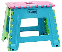 Haneez Folding Step Stool with a capacity of upto 100Kgs with Handle for Adults and Kids useful for Homes and Picnics, Strong and Sturdy, and Portable, Colors May Vary, Large