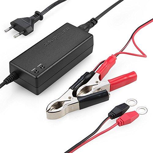 RAVPower Caricabatterie Mantenitore Batteria Sigillata agli Acidi di Piombo (SLA) dell'Auto, Output DC da 12V 1.5A, Protezioni Multiple e Multilivello, Morsetti e Clip ad Anello Staccabili