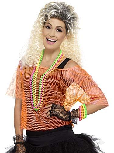 Halloweenia - Damen Frauen 80er Jaher Popstar Superstar Fishnet Shirt Top Kostüm, perfekt für Karneval, Fasching und Fastnacht, L/XL, Orange