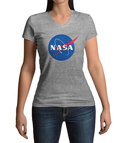Classic Space Nasa Logo Damen V-neck T-shirt (Jersey Distressed V-neck)