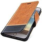 MoreChioce Compatible avec Coque iPhone 8,Compatible avec Coque en Cuir iPhone 7, Élégant Crocodile Orange Relief Housse à Rabat Clapet Case Wallet Étui de Protection Portefeuille Magnétique